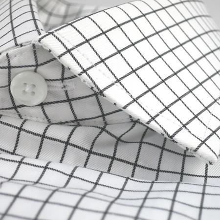 Top Hemd Baumwolle - schwarz weiß kariert Twill | DAS MASSHEMD #JV_06